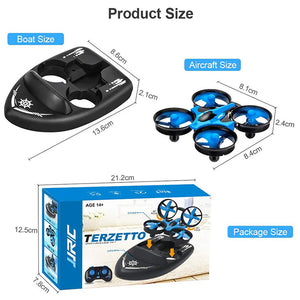 JJRC H36F Mini Drone Vehicle Boat 3 in 1 RC Quadcopter with Headless Mode 2.4G Remote Control One Key Return 360°Flips Roll Stunt 2 Speed Mode and 3 Batteries