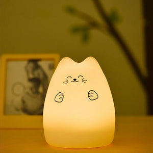 LED Night lamp decorate desk light battery dream cute cat 7 colourful holiday creative rechargable bulb for baby bedroom luminar