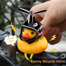 Load image into Gallery viewer, Creative Cute Wearing Helmet Small Yellow Duck For Car Decoration/Bicycle Horns