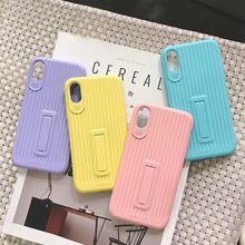 Load image into Gallery viewer, Macaron TPU Car Shell Candy Color Phone Case Candy Ribbon Stand Phone Case
