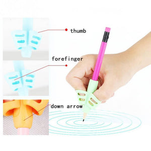 3Pcs/Set Children Pencil Holder Tools Silicone Two Finger Ergonomic Posture Correction Tools