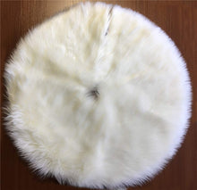 Load image into Gallery viewer, Christmas Tree Skirt White Faux Fur Fluffy Xmas Tree Skirt Mat