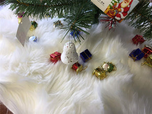 Christmas Tree Skirt White Faux Fur Fluffy Xmas Tree Skirt Mat