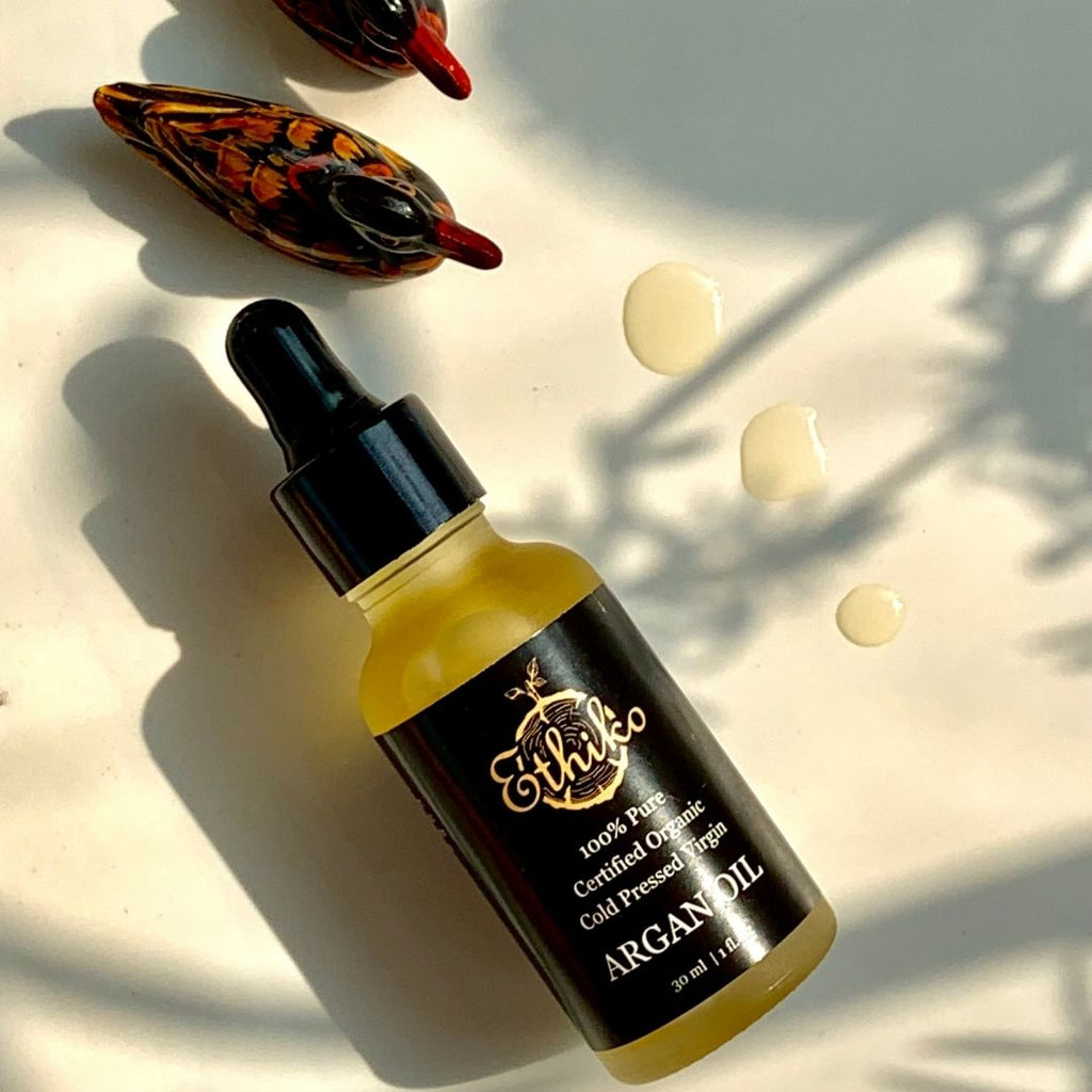 cold pressed organic argan oil for skin, hair, nails and lips