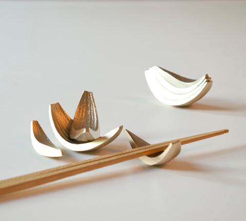 Brass Onion Sliver Chopstick Rests