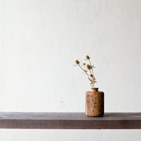 Wormy Wood Tube Vase