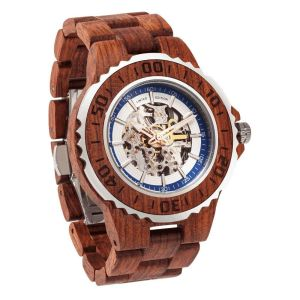 Men's Genuine Automatic Kosso Wooden Watches No Battery Needed
