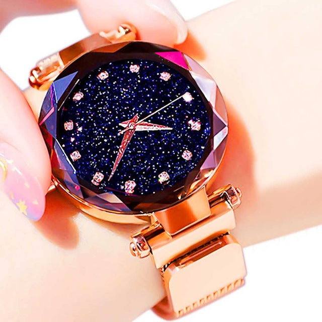 Women Starry Sky Watch Luxury Magnetic Buckle Mesh Band Quartz Wristwatch Female Rose