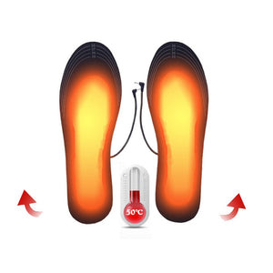 1 Pair USB Heated Shoe Insoles Foot Warming Pad Feet Warmer Sock Pad Mat Winter Outdoor Sports Heating Insoles Winter Warm