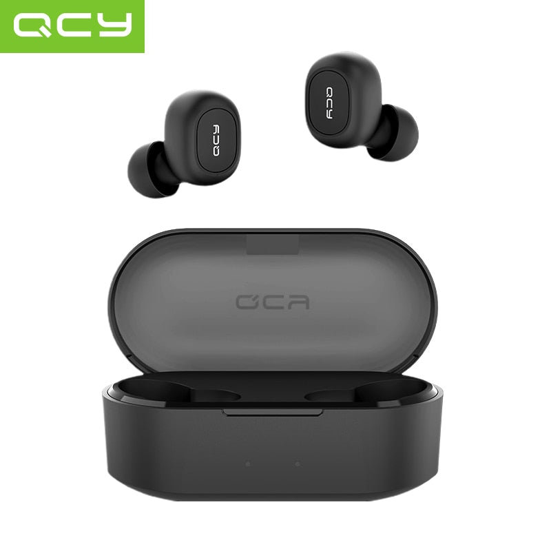 QCY QS2 TWS Mini Dual V5.0 Bluetooth Earphones True Wireless Headsets 3D Stereo Sound Earbuds Dual Microphone With Charging box