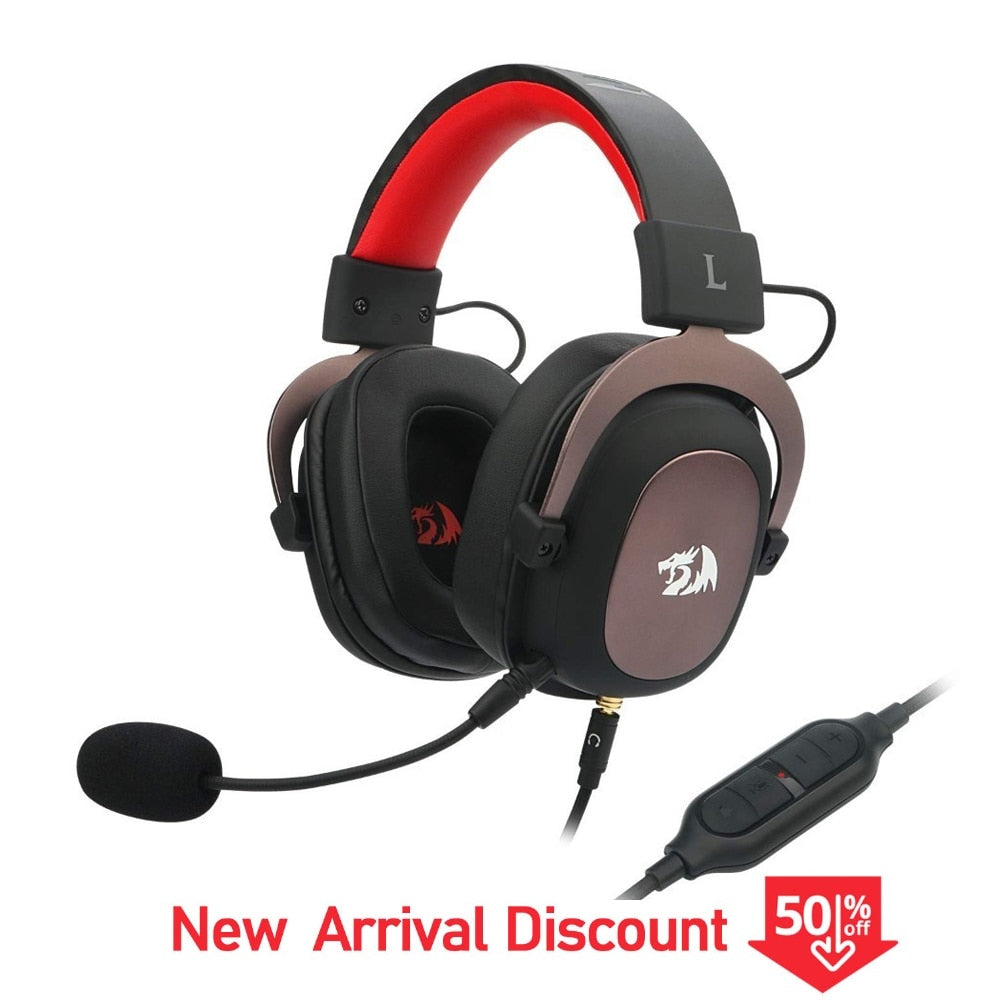 Wired Gaming Headset 7.1 Surround-Sound Gamer Headphones With Detachable Mic