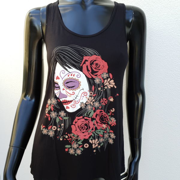Beautiful Black Tank Top with Day of the Dead Motif