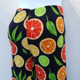 Black Leggings with Citrus Print