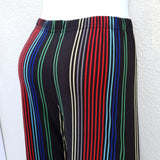 Black leggings with differing coloured vertical pin stripes
