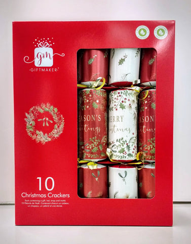 Giftmaker Christmas Crackers Traditional Foliage 10pk