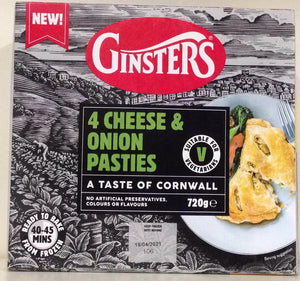 Ginsters 4 Cheese & Onion Pasties 720g