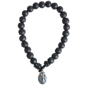 Faith Gear® Guy's Bracelet - Black Bead with Cross