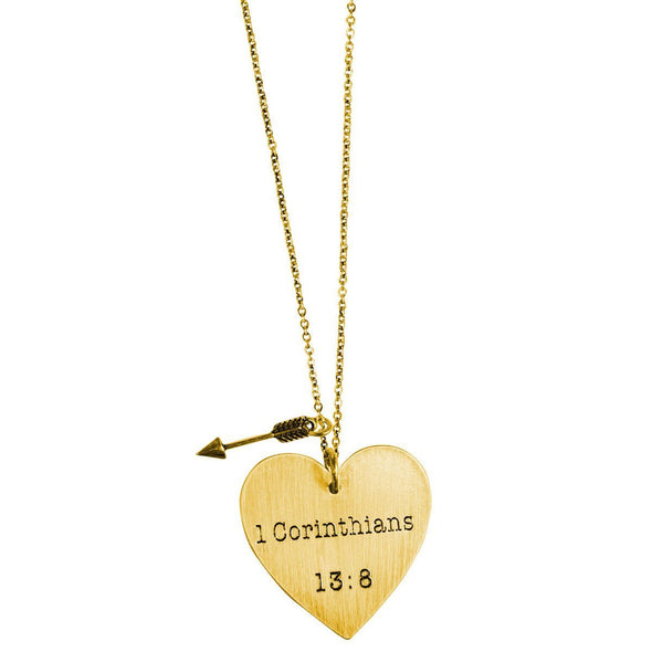 Faith Gear® Love Never Fails Womens Heart Necklace