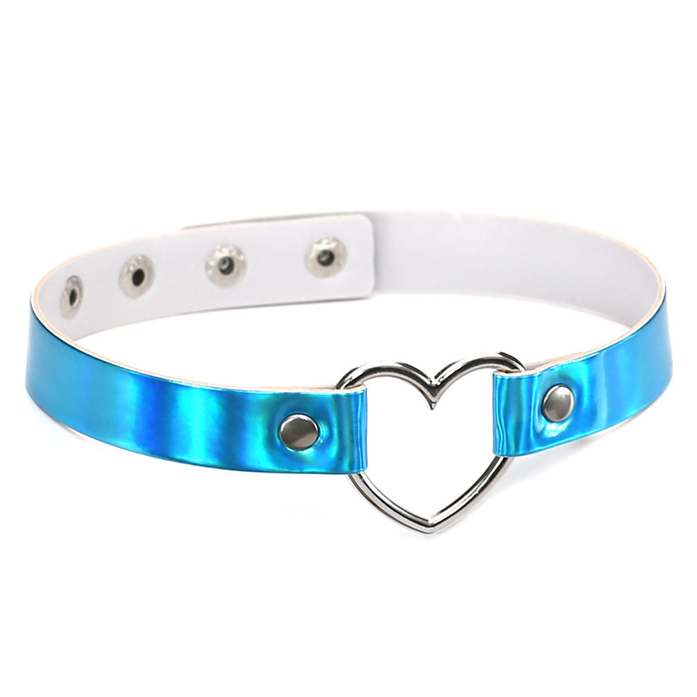 Punk Laser Heart Choker Collar