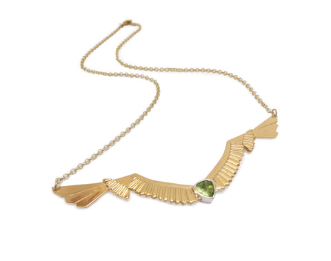 Wingspan Necklace with Peridot in Gold Vermeil
