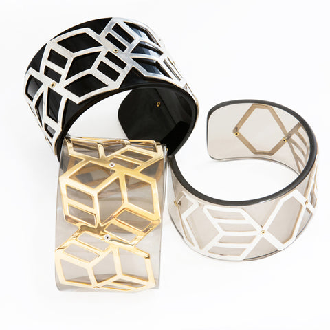 Wide Perspex Cuff - Smokey Grey and Gold