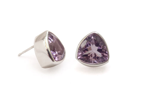 Chunky Trilliant Amethyst Stud Earrings