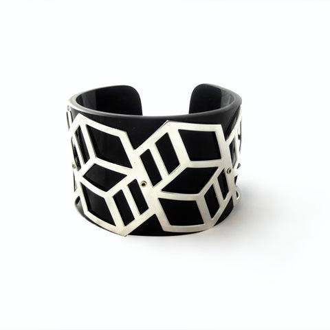 Wide Perspex Cuff - Black and Silver