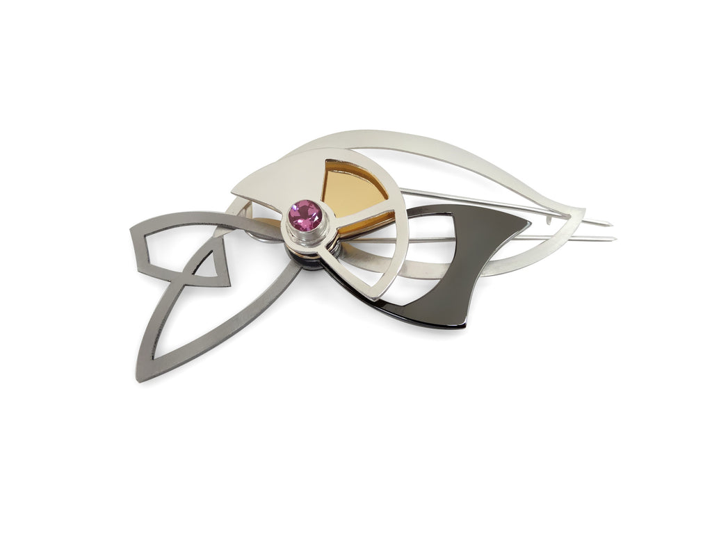 Interactive Organic Brooch with Pink Tourmaline
