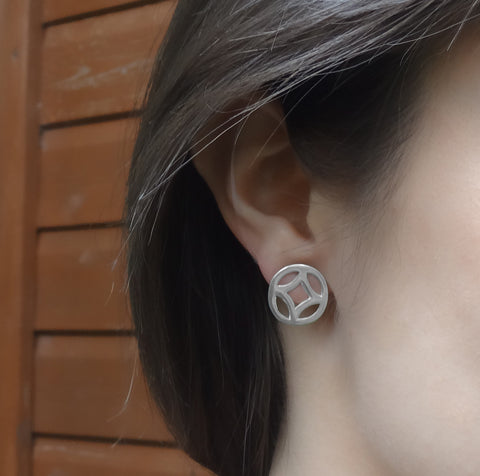 Circle Studs in Silver or Gold Vermeil