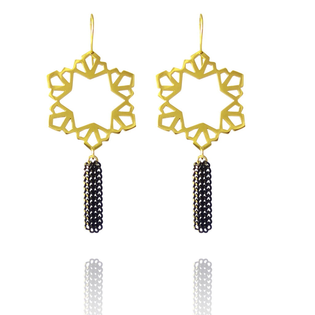 Geo Circular Tassel Earrings - Gold Vermeil