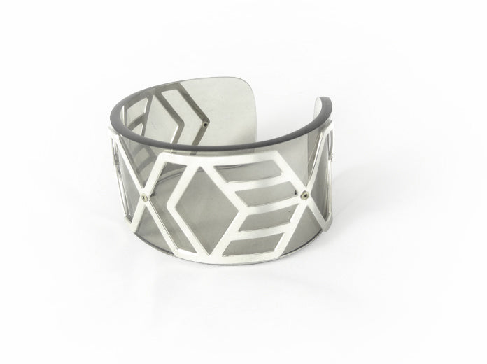Slim Perspex Cuff - Smokey grey and Silver