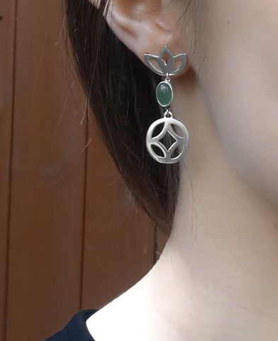 Geo Jade Earrings - Available in Silver or Gold Vermeil