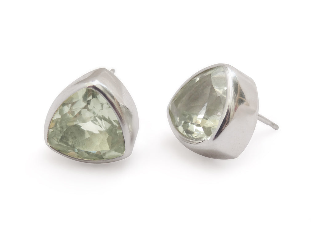 Chunky Trilliant Green Quartz Stud Earrings