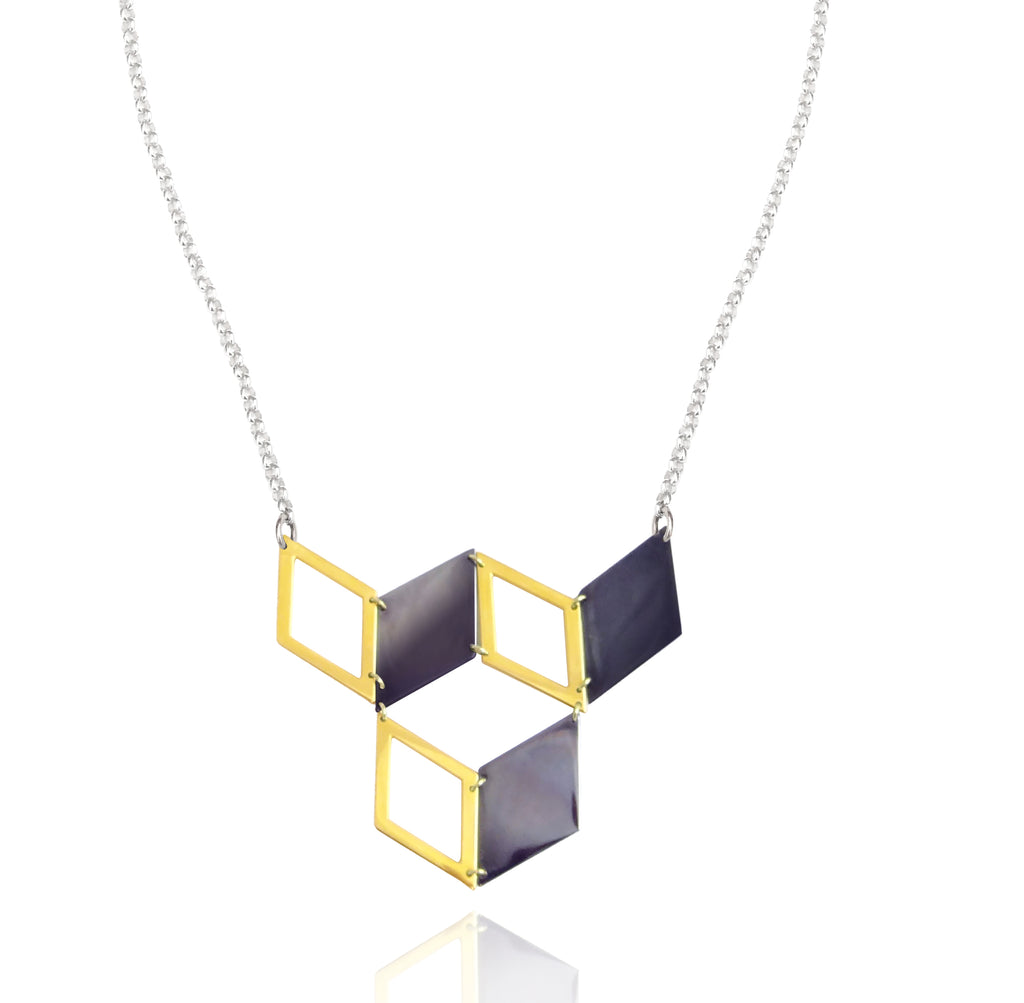 Hex Black and Gold Cube Necklace
