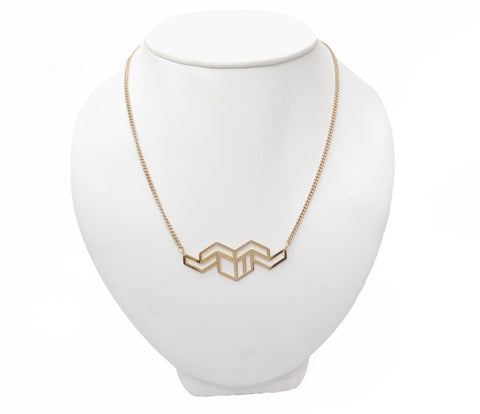 Hex Zigzag Geometric Necklace in Gold Vermeil