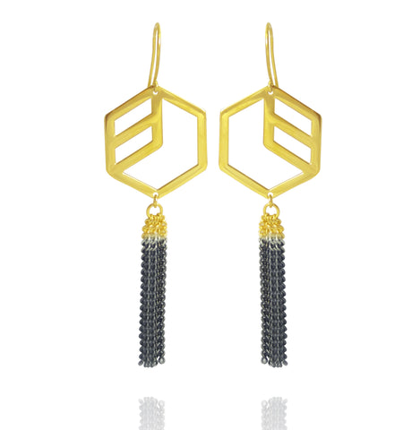 Hex Dipped Tassel Earrings - Gold