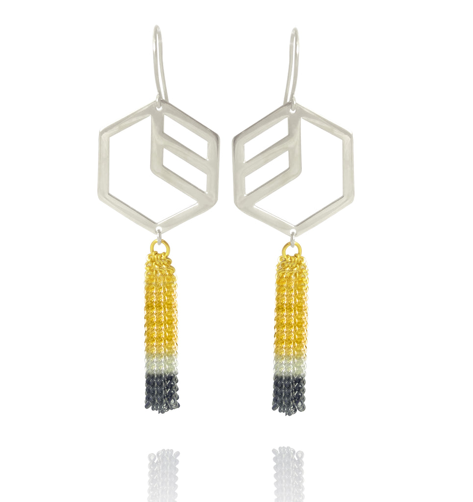 Hex Dipped Tassel Earrings - Silver
