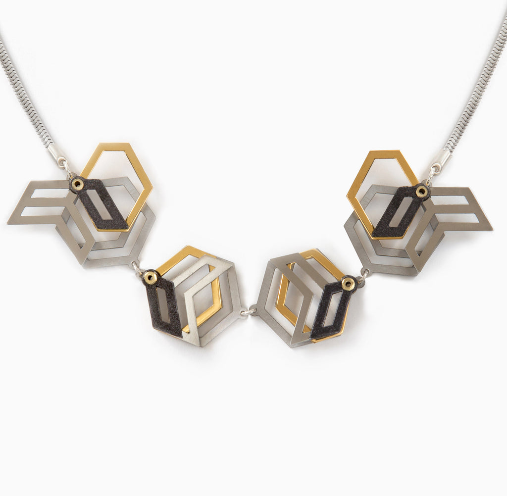 Interactive Hexagon Neckpiece