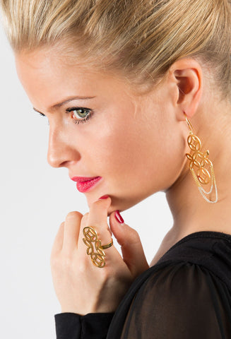 Large Dangly Earrings - Gold-dipped