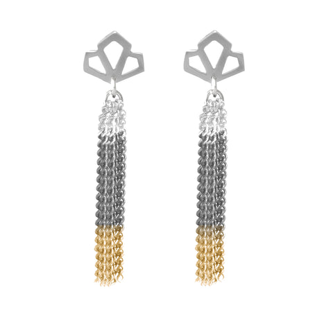 Long Three-Tone Tassel Earrings