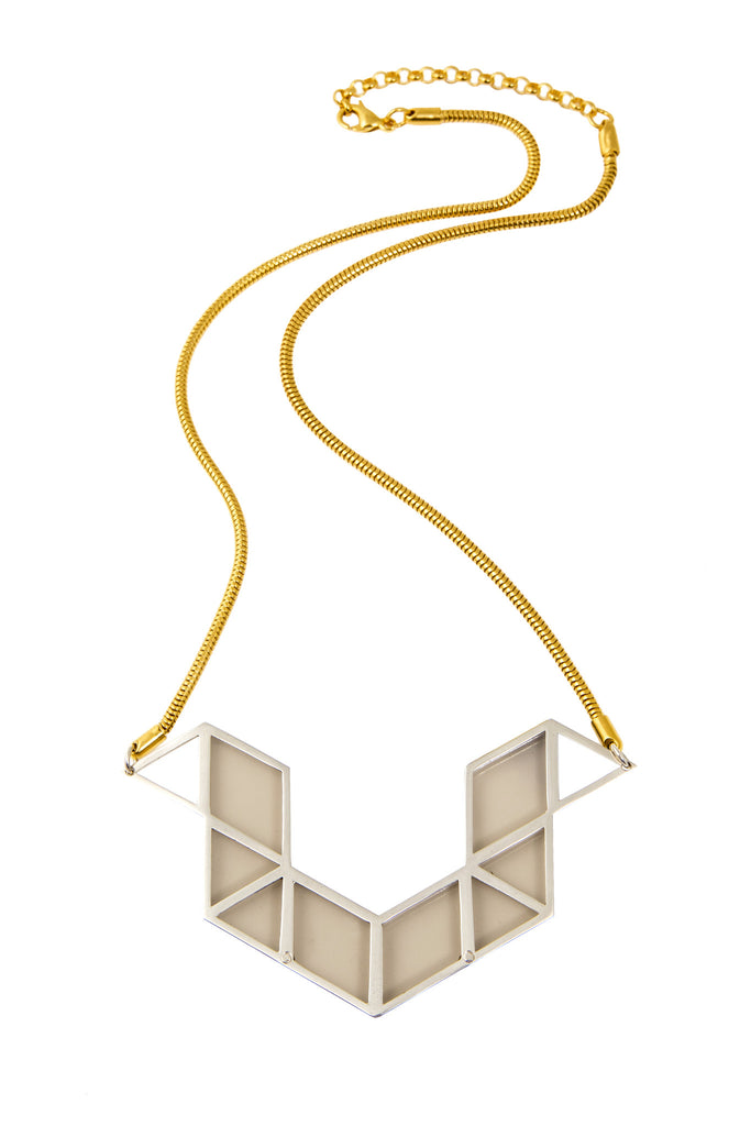 Perspex Rubick's Snake Necklace in Gold and Silver