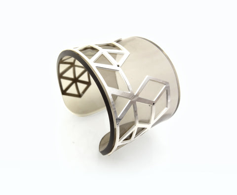 Hex II Perspex Cuff - Smokey Grey and Silver