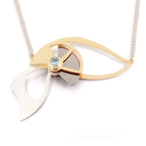 Interactive Organic Necklace with Aquamarine