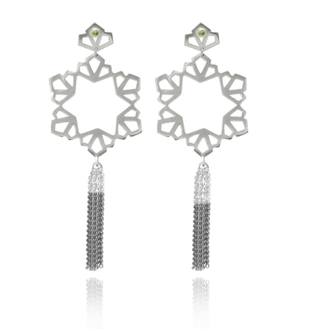 Silver Geo Circular Tassel Earrings with Peridot