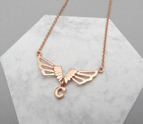 Winged Letter Necklace - Choose your letter