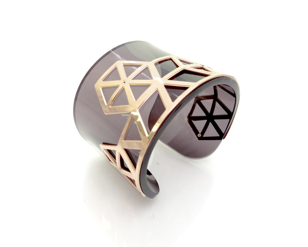 Hex II Perspex Cuff - Dark Tinted Grey and Rose Gold