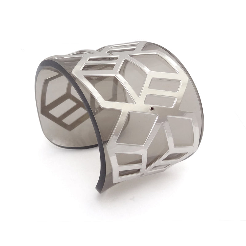 Wide Perspex Cuff - Smokey Grey and Silver