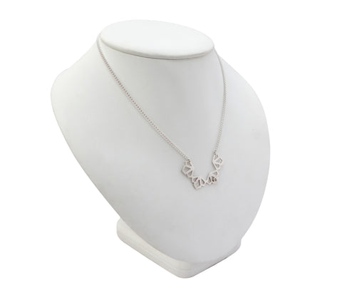 Medium Deco White Sapphire Necklace in Silver