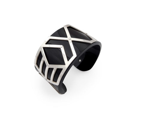Slim Perspex Cuff - Black and Silver