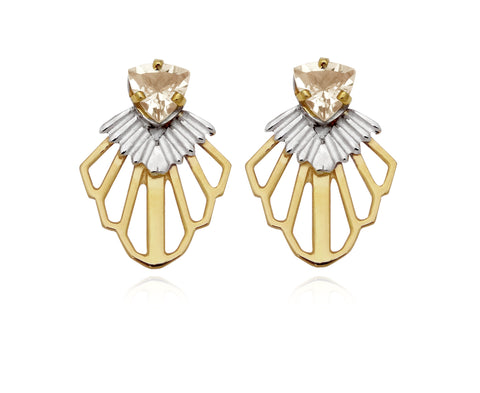 Tailfeather Earrings with Golden Swarovskis